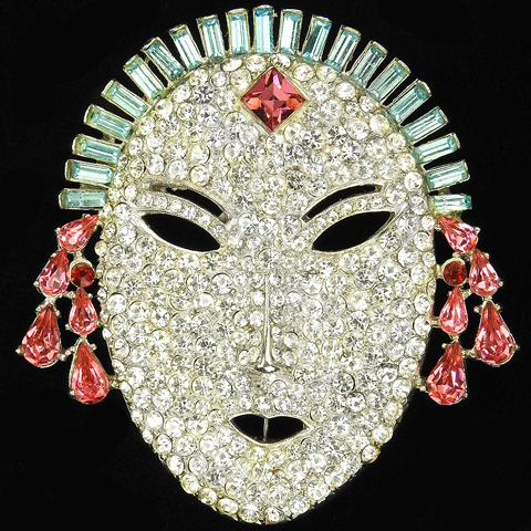 Mazer (unsigned) Pink Topaz Pave and Aquamarine Oval Face Mask Pin