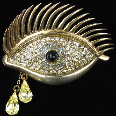 Mazer Sterling 'Eye of Time' with Pendant Teardrops Pin