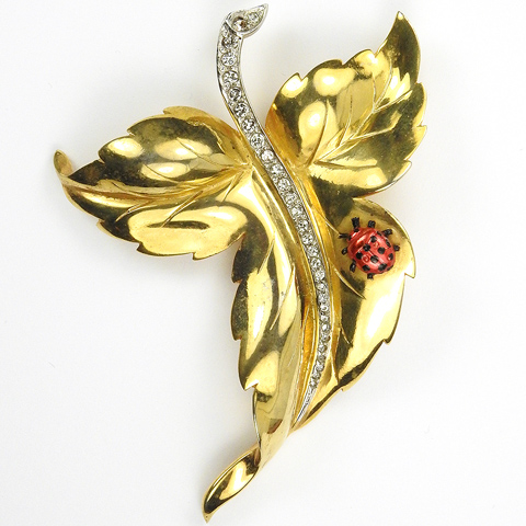 Mazer Gold and Pave Leaf with Enamelled Ladybug Pin Clip