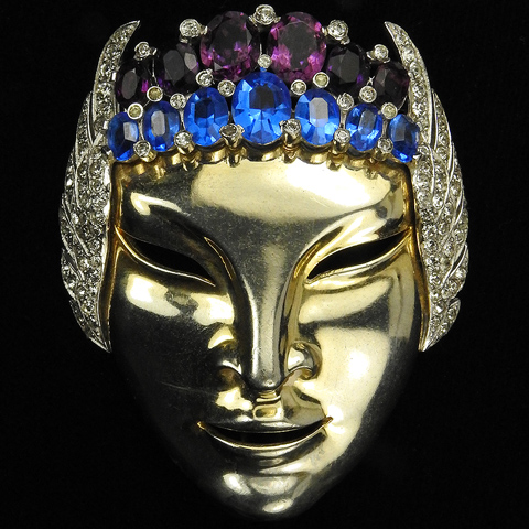 Mazer Sapphire and Amethyst Face Mask with Pave Winged Headress Pin Clip