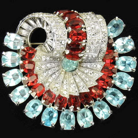 Mazer Pave Aquamarines and Rubies Deco Spiral Swirl Pin