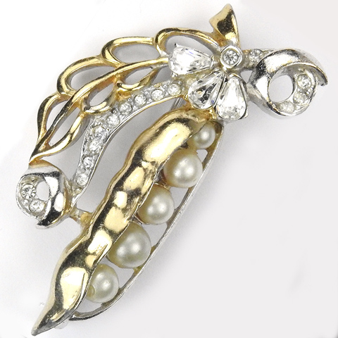 Mazer (? unsigned) Gold Silver Pave and Pearls Pea Pod Pin