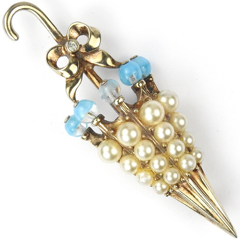 Mazer Gold Poured Glass and Pearls Umbrella with Bow Pin