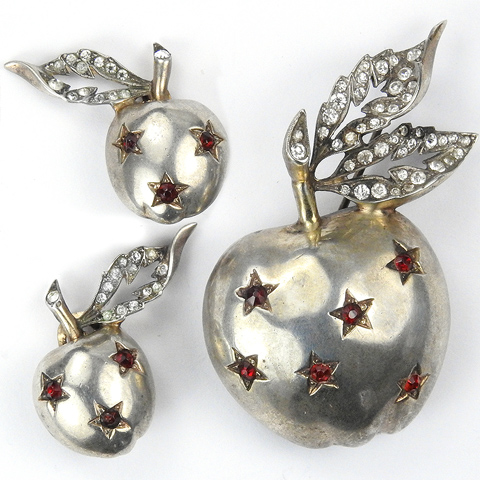 Mazer Sterling Ruby Star Spangled Golden Apple with Pave Leaves Pin and Clip Earrings Set