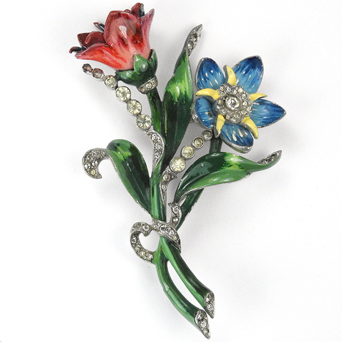 Mazer Pave and Enamel Double Pink and Blue Starflower Floral Spray Pin