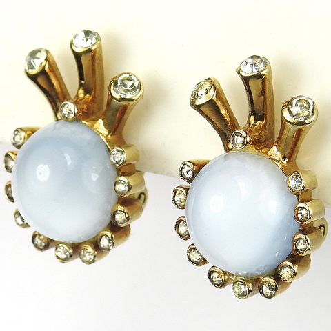 Mazer Gold Pave and Blue Moonstone Cabochon 'Jewels of Fantasy' Eye and Lashes Small Clip Earrings