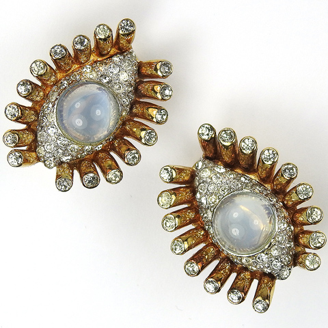 Mazer Gold Pave and Blue Moonstone Cabochon 'Jewels of Fantasy' Eye and Lashes Large Clip Earrings