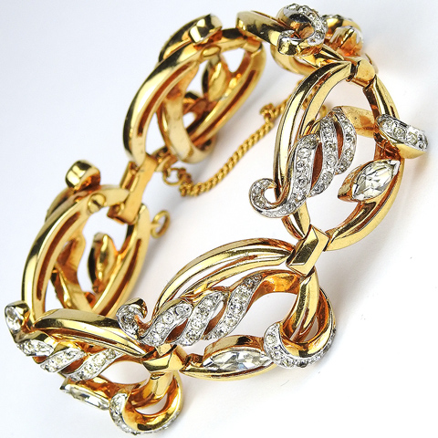 Mazer (unsigned) Gold Ovals with Pave Swirls Six Link Bracelet