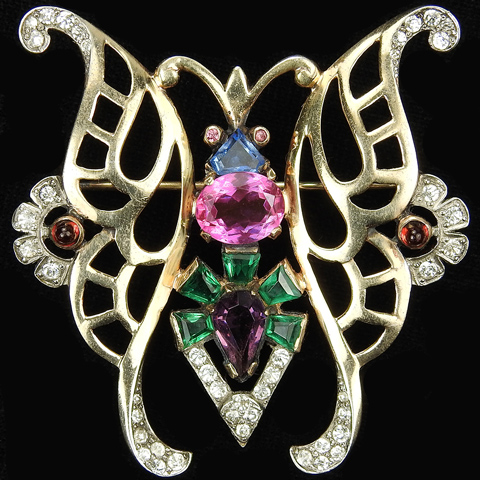 Mazer Sterling Gold Pave Pink Topaz and Multicolour Stones Butterfly Pin