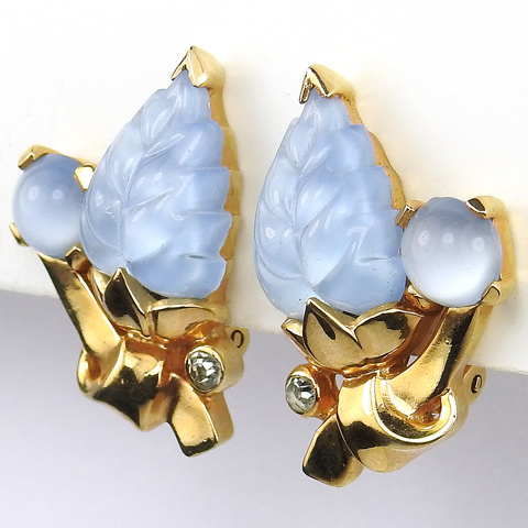 Mazer Blue Moonstone Fruit Salad Leaf and Cabochon Clip Earrings