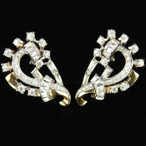 Mazer Gold Pave and Baguettes Bow Swirl Clip Earrings