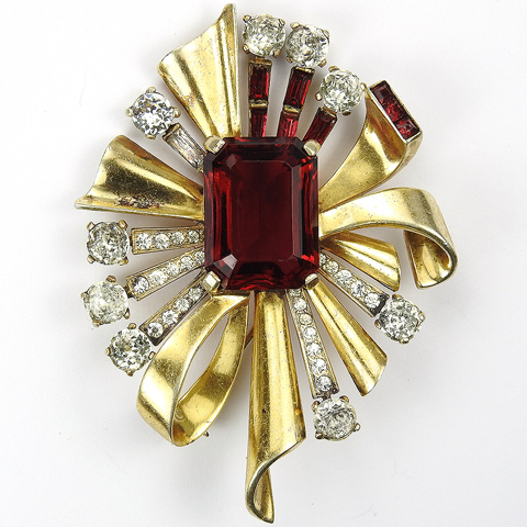Mazer Sterling Gold and Ruby Invisibly Set Deco Bow Swirl Pin<br /><br />