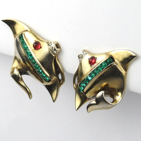Mazer Gold Ruby and Invisibly Set Emeralds Angelfish Fish Clip Earrings