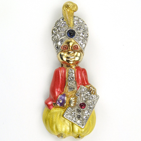 Mazer 'Joseph Wuyts' Gold Pave and Enamel Maharajah with Feathered Turban Holding a Book Pin Clip