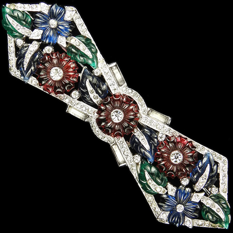 Mazer Pave Baguettes and Tricolour Fruit Salad Flowers and Leaves Deco Bow Tie Pin