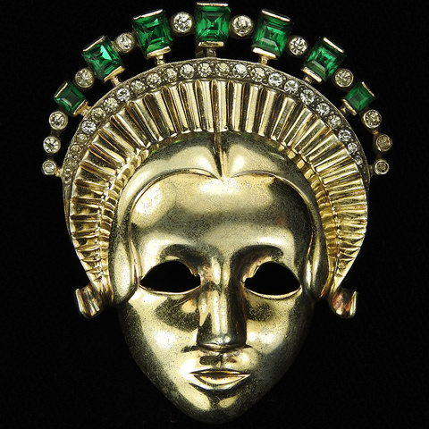 Mazer Sterling Lady with Emerald Headdress Face Mask Pin or Pendant