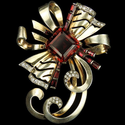 Mazer Sterling Gold Ruby and Baguettes Deco Openwork Bow or Starburst Pin