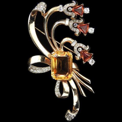 Mazer Sterling Table Cut Citrine and Kite Cut Pink Topaz Triple Bell Flower Spray and Bow Swirl Pin