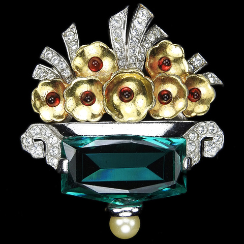 Mazer (unsigned) Gold Pave and Table Cut Emerald Flower Basket Pin
