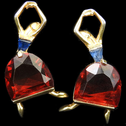 Mazer Gold Triangle Cut Sapphires and Ruby Demilunes Ballerina Clip Earrings