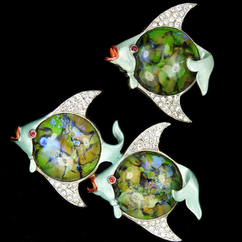 Mazer Pave Enamel and Marbled Green Agate Pair of Double and Single Angel Fishes Pin and Pin Clip
