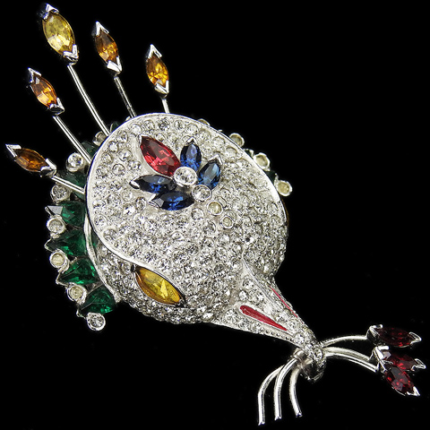 Mazer Pave Emerald Citrine and Ruby Peacock Bird's Head Holding a Triple Branch in its Beak Pin