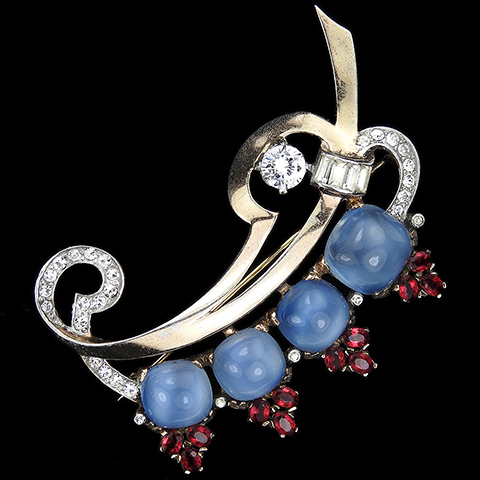 Mazer Sterling Gold Pave Baguettes and Ruby Spangled Cushion Cut Blue Moonstones Bow Swirl Leaf Pin