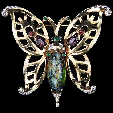 Mazer Gold Multicolour Stones and Marbled Green Agate Butterfly Pin