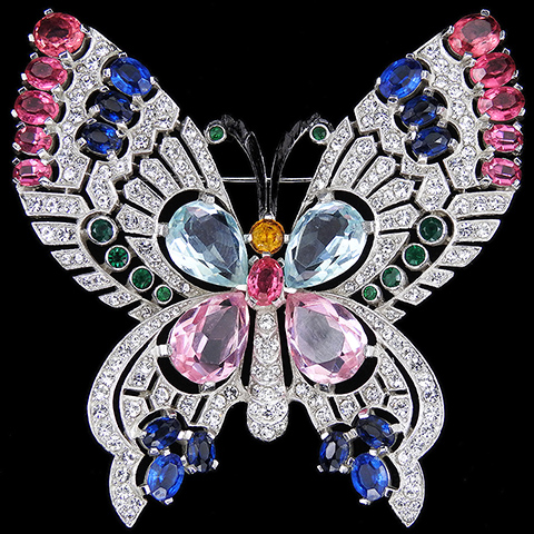 Mazer Pave Openwork and Multicolour Stones Giant Butterfly Pin