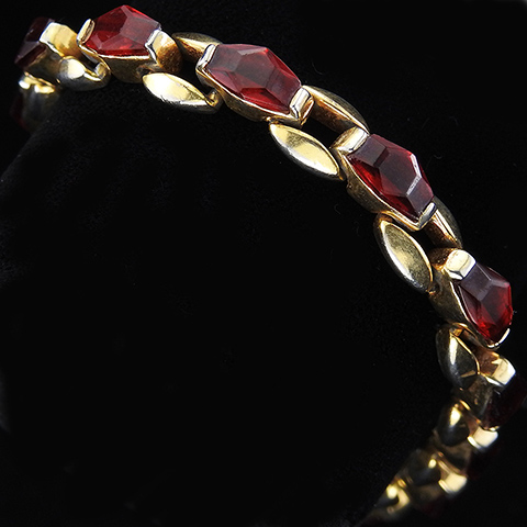 Mazer Gold and Hexagon Cut Rubies Tennis Bracelet