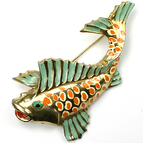 Gold and Enamel Leaping Fish Pin