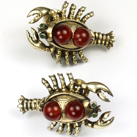 Sterling and Ruby Cabochons Lobster Clip Earrings