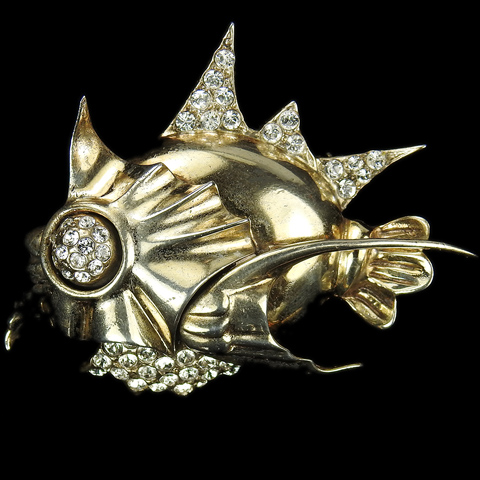 Sterling Gold and Pave Deep Sea Fish with Spiky Fins and Jaws Pin