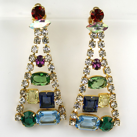 Modernist Aurora and Multicolour Gems Sinuous Pyramid Pendant Clip Earrings