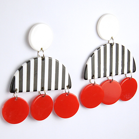 Vintage 1960s Black and White Candystriped Arc and Pendant Red Buttons Pierced Earrings
