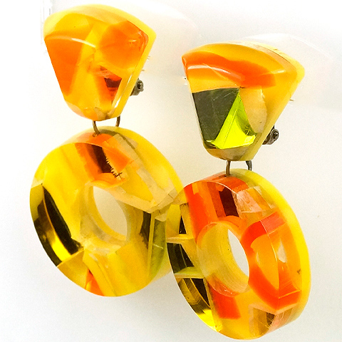 Sixties Psychedelic Lemon and Golden Embedded Mirror Glass Pendant Circles Clip Earrings