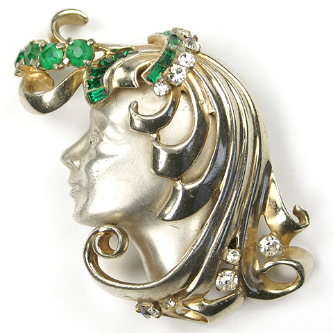 Deco Lady's Face in Profile with Flowing Golden Hair and Emeralds Pin