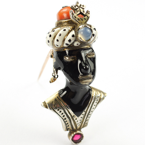 Deco Renaissance Revival Sterling Coral Moonstone Pearls and Enamel Blackamoor with Turban Headdress Pin Clip