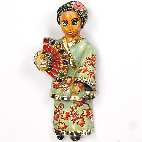 Coro (unsigned) Gold and Enamel Chinese Lady with Fan Pin Clip
