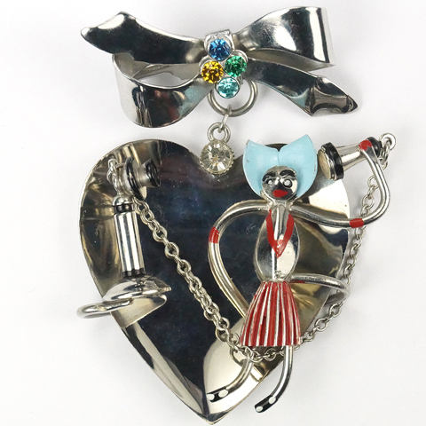 Deco Valentine Spangled Bow and Pendant Heart with Girl Speaking on a Vintage Candlestick Telephone Pin