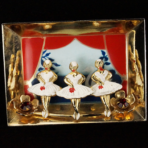 Three Ballerinas On Stage Scene Pin