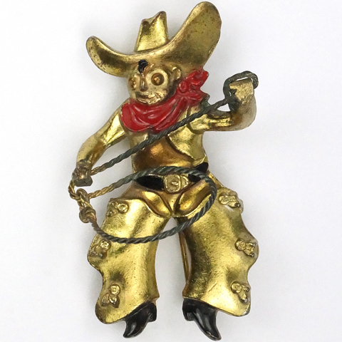 Gold and Enamel Cowboy with Ten Gallon Hat Red Bandanna and Lasso Pin