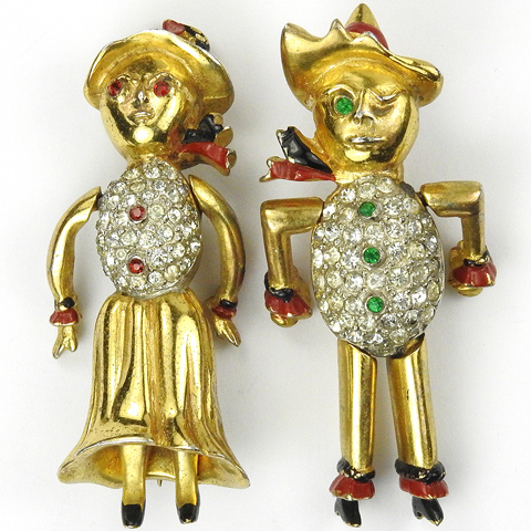 Farmer and his Wife Pair of Deco Moveable Rag Doll Figural Pins