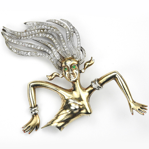 Sterling Gold and Pave Lady with Silver Armlets and Flying Hair Pin