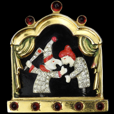 Gold Pave and Enamel Punch and Judy on a Puppet Theatre Stage Trembler Scene Pin Clip
