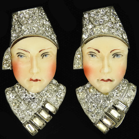 Deco Pave Baguettes and Enamelled Porcelain Pair of Russians Wearing Hats Face Dress Clips