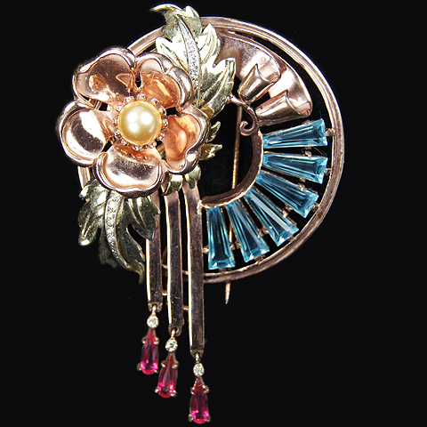 DeRosa Sterling Two Colour Golden Flower and Leaves Deco Swirl and Pendant Rubies Aquamarine Pyramids Pin Clip
