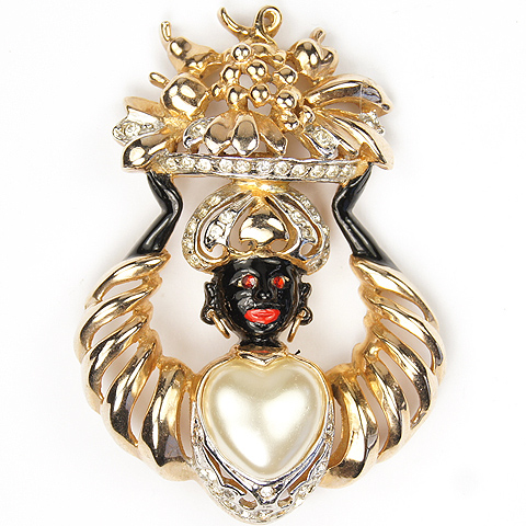 Reja Pearl Hearted Lady Blackamoor Bearing Flower Basket Pin