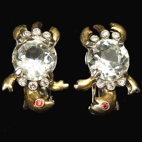 Reja Gold Ruby and Diamond Belly Miniature Turtle Clip Earrings