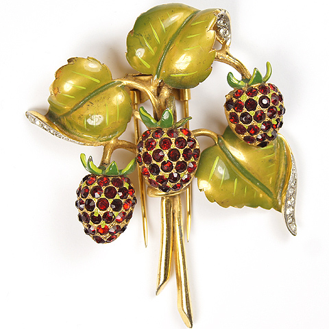 DeRosa Metallic Enamel Leaves and Rubies Strawberries Pin Clip